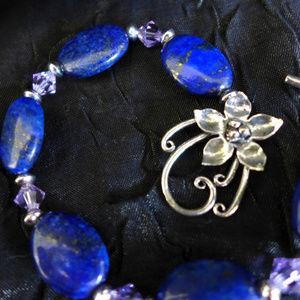 Lapis Lazuli Bracelet Silver Flower toggle Crystal